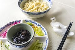 Tallarines de Pekín con goma de la soja imágenes de archivo libres de regalías