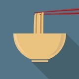 Tallarines de Ramen planos del diseño stock de ilustración