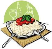 Tallarines del espagueti con la salsa de tomate Fotos de archivo