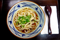 Tallarines del Udon con la sopa fría Imagenes de archivo