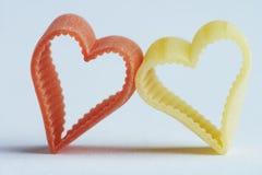 Tallarines en forma de corazón - herzfoermige Nudel Imágenes de archivo libres de regalías