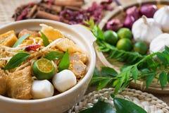 Tallarines famosos del curry de Singapur imagen de archivo