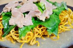 Tallarines fritos curruscantes con el cerdo empapado en salsa imágenes de archivo libres de regalías