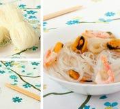 Tallarines y mariscos chinos de arroz. Collage fotos de archivo