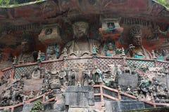 Tallas de la roca de la montaña de Dazu Bao Ding Imagen de archivo