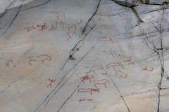 Tallas de la roca en Hjemmeluft, Alta fotografía de archivo