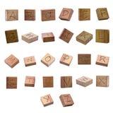 Tallas del alfabeto en el bloque de madera , Trayectorias de recortes fotografía de archivo