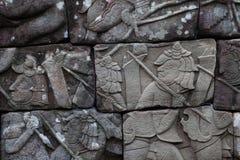 Tallas del templo de Bayon imagen de archivo