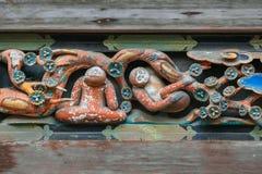 Tallas famosas de madera de Tosho-gu imagenes de archivo