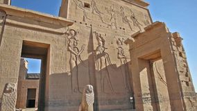 Tallas y columnas jeroglíficas en un templo egipcio antiguo almacen de metraje de vídeo