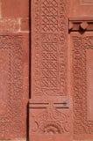 Tallas y diseños antiguos finos en las paredes del complejo de FatehPur Sikri fotografía de archivo