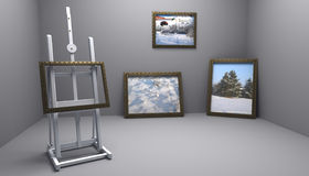 Taller con los cuadros del invierno Imágenes de archivo libres de regalías