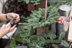 Taller de la decoración de la Navidad con sus propias manos La caja de madera de la Navidad con el abeto ramifica para el día de  Imagen de archivo