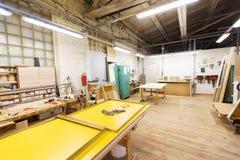 Taller de la fábrica de carpintería Fotografía de archivo libre de regalías
