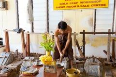 Taller de la hoja de oro, Mandalay Imagenes de archivo