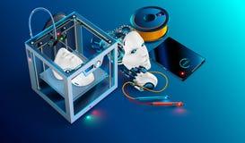 taller de la impresión 3d cabeza impresa impresora del robot 3d El robot parte la fabricación con tecnología aditiva impresión 3d Imagen de archivo