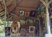 Taller de pintura del templo de Indonesia Bali Taman Ayun Imagen de archivo