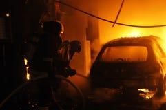 Taller de reparaciones auto del fuego Fotos de archivo
