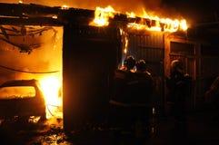 Taller de reparaciones auto del fuego Fotografía de archivo libre de regalías