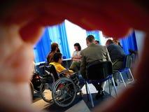 Taller para las personas discapacitadas imagen de archivo libre de regalías
