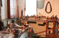 Taller y herramientas antiguos Imagen de archivo libre de regalías