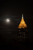 Tallest building in Atlanta downtown in the night with full moon. Tallest building in Atlanta downtown southern United States in the night with full moon Stock Image