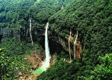 The tallest plunge waterfalls in India. Nohkalikai Falls the tallest plunge waterfalls in India.Its height is 1115 feet & x28;340 metres& x29;. The waterfall is stock image