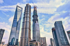 Tallest skyscrapers of Shanhai at Lujizui area, China royalty free stock photo