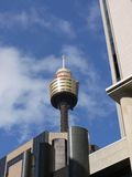 The tallest tower of Sydney with a skydeck. Sydney Tower eye with the observation deck in the commercial center of Sydney in New South Wales in Australia Stock Photos