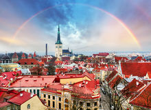 Tallin Aerial View of Old Town from Toompea Hill with rainbow, E Stock Image