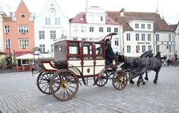 Tallin,august 23 2014-Citytour Carriage from Tallin in Estonia Royalty Free Stock Photo