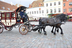 Tallin,august 23 2014-Citytour Carriage from Tallin in Estonia Royalty Free Stock Photography