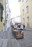 Tallin,august 23 2014-Downtown Street from Tallin in Estonia Stock Photo