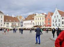 Tallin, 23 augustus het Plein 2014-van de binnenstad van Tallin in Estland Royalty-vrije Stock Fotografie
