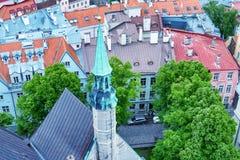 Tallin budynki Średniowieczny Grodzki widok z lotu ptaka Fotografia Stock