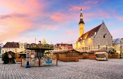 Tallin Christmas. Christmas decoration Town Hall Square in Talli Stock Photo