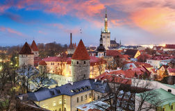 Tallin city, Estonia at sunrise.  Stock Photos