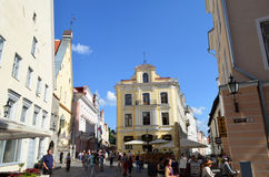 TALLIN, ESTLAND 24 AUGUSTUS 2015 - Toeristenmening van Oude Stadsarchitectuur in Tallinn, Estland Royalty-vrije Stock Foto