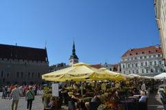 TALLIN, ESTLAND 24 AUGUSTUS 2015 - Toeristenmening van Oude Stadsarchitectuur in Tallinn, Estland Royalty-vrije Stock Afbeelding
