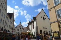TALLIN, ESTLAND 24 AUGUSTUS 2015 - Toeristenmening van Oude Stadsarchitectuur in Tallinn, Estland Royalty-vrije Stock Fotografie