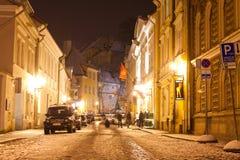 Tallin Estland 01 01 2012: nachtmeningen van Tallinn op Nieuwjaar` s Vooravond Royalty-vrije Stock Afbeelding