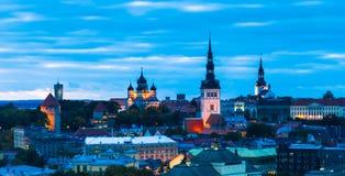 Tallin, Estonia. City Skyline in the Evening Royalty Free Stock Photos