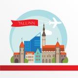 Tallin Estonia detailed silhouette. Royalty Free Stock Photo
