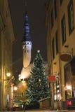 Tallin gammal town i jul på natten Arkivbilder