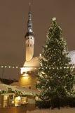 Tallin gammal town i jul på natten Royaltyfria Bilder