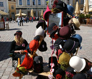 Tallin hats. Selling hats typical of Estonia, the town hall square, Tallin Stock Photos