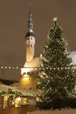 Tallin Old town in Christmas at night. Christmas is celebrated across Tallinn's Old Town. The Christmas tree stands beside the Town Hall, an example of Gothic Royalty Free Stock Images