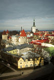 Tallin rooftops. View of Estonia's Old town and Saint Olaf's Church Royalty Free Stock Photos
