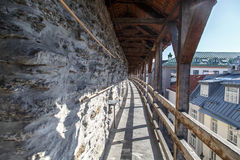 Tallin Walls. TALLINN, ESTONIA - APRIL 25, 2015 : Close up view of the observation deck of Tallinn Walls in Estonia, ancient stone fortress from medieval time Stock Images