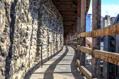 Tallin Walls. TALLINN, ESTONIA - APRIL 25, 2015 : Close up view of the observation deck of Tallinn Walls in Estonia, ancient stone fortress from medieval time Royalty Free Stock Photos